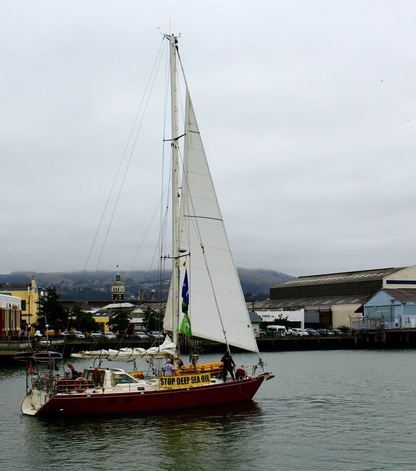 Tiama heads out as part of the Otago Flotilla